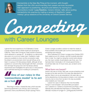 Snapshot of Phoenix magazine article page one showing title 'connecting with Career Lounges' and first paragraphs.